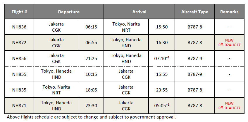 ana new flight schedule