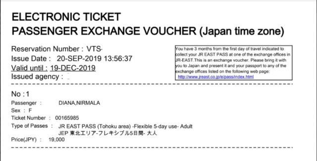 Contoh E-ticket JR East Pass